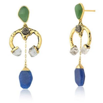 Energy Earring - Crystal, Metallic Druse, Blue and Green Quartz Earring