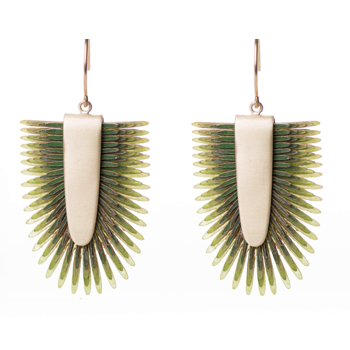 Earrings of recycled leather - Olive