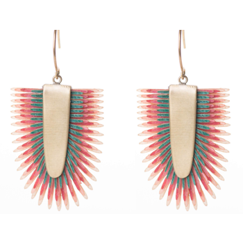 Earrings of recycled leather - Multicolor
