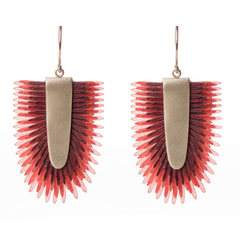 Earrings of recycled leather -Pink