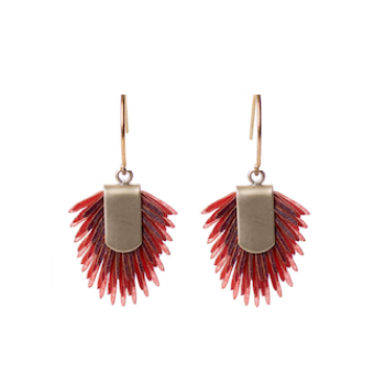 Earrings of recycled leather - Pink
