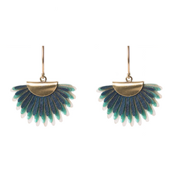 Earrings of recycled leather - Green