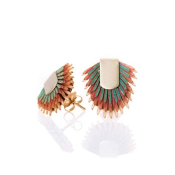 Earring studs of recycled leather - Multicolor