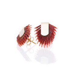 Earring studs of recycled leather - Pink