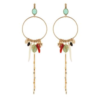 FASHIONABLE AMAZONITE BUTTERFLY FASTENING EARRINGS WITH CHARMS - MULTICOLOURED