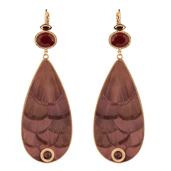 ETHNIC FEATHER SLEEPERS EARRINGS - MAUVE