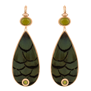 ON-TREND FEATHER SLEEPERS EARRINGS - KHAKI