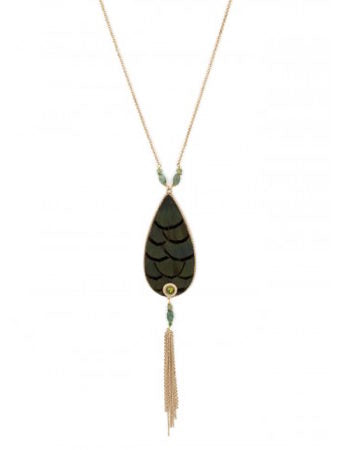 FEATHER JADE AND SWAROVSKI CRYSTAL MID-LENGTH NECKLACE - KHAKI