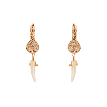 ETHNIC TROCHUS SLEEPER EARRINGS - WHITE