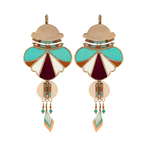 ETHNIC CHIC  FEATHER AND BEAD SLEEPER EARRINGS - MULTICOLOURED