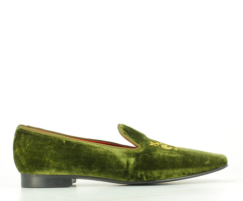 Slipper verde bordado