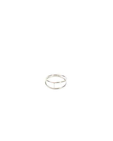 Fine Metal Cross Bar Ring - Medium