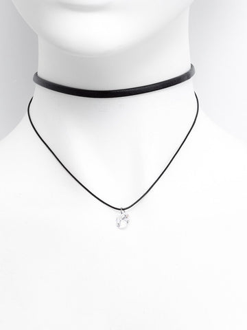 Thin Pu Choker & Stone Choker Necklace