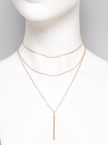 Fine Multi Chain Bar Necklace