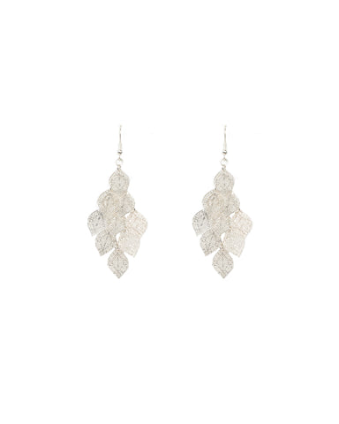 Fine Filigree Leaf Layered Drop Earrings