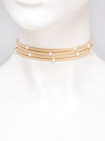 Multi Row Stone Choker Necklace