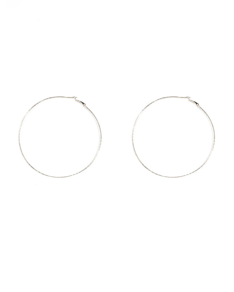 Silver Tone Fine Hammered Hoop Earrings