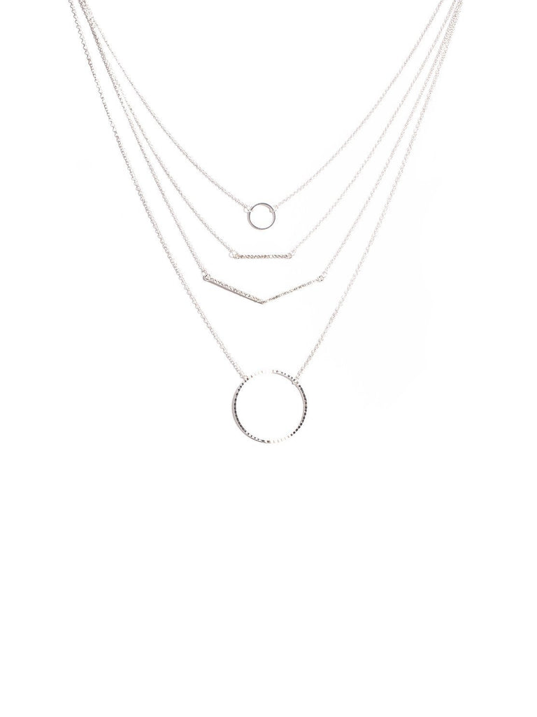 Geometric Shapes Multi Row Necklace