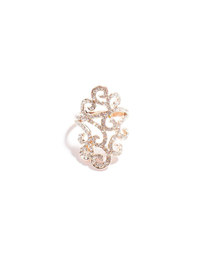 Diamante Ornate Swirl Ring