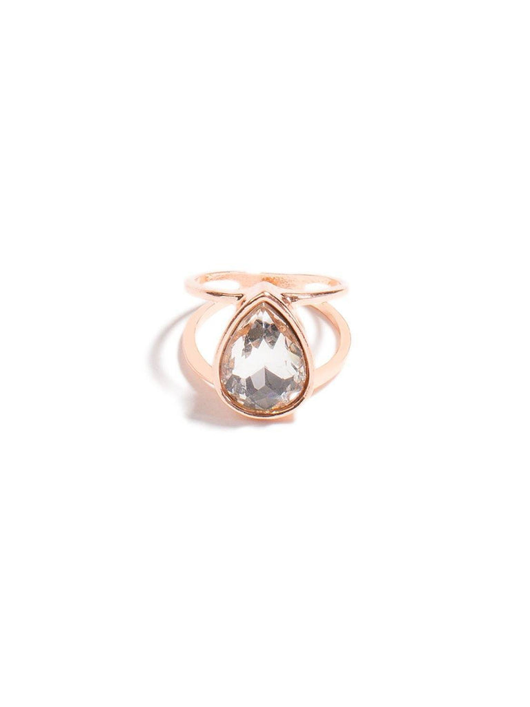 Teardrop Stone Open Band Ring - Small