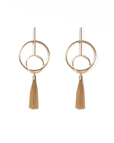 Circle On Bar Metal Tassel Statement Earrings
