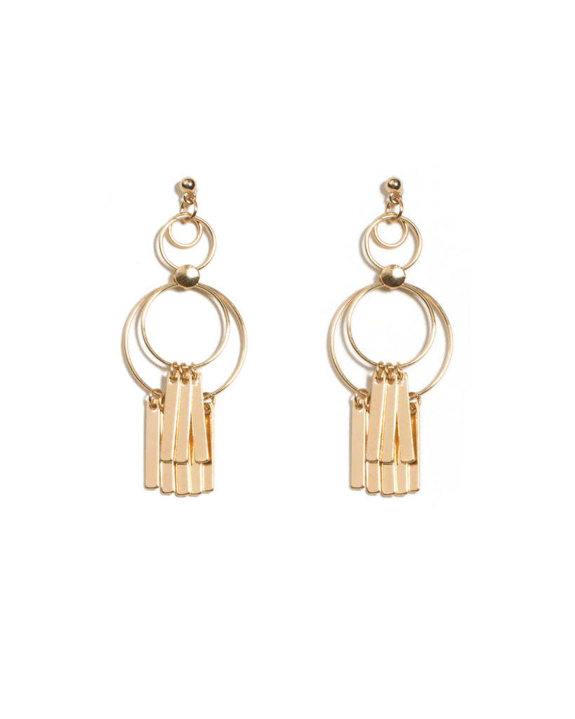 Bars On Circle Drop Earrings