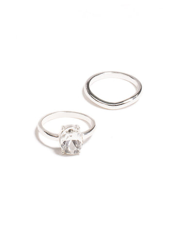 2 Pack Oval Diamante Ring - Large