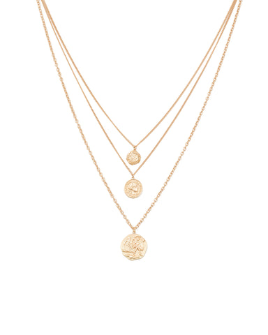 Gold Stamp Pendant Necklace