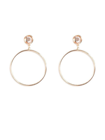 Stone Stud With Drop Hoop Earrings