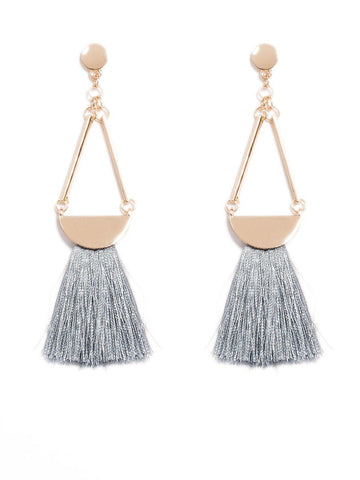 Triangle Drop Tassel Earrings