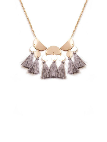 Disk With Tassel Stonenecklace