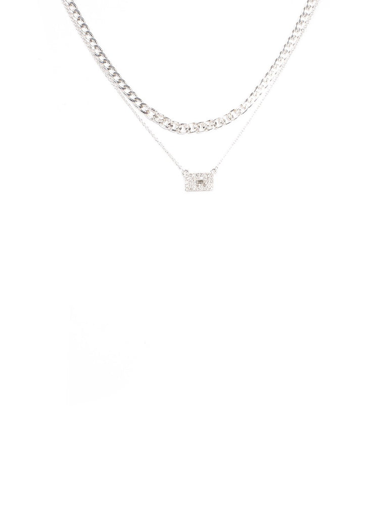 2 Pack Pave Stone Necklace