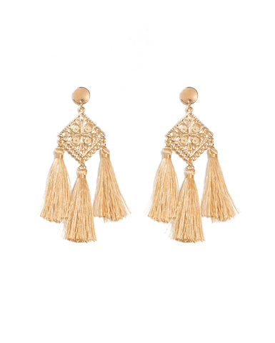 Filigree Square Tassel Statement Earrings