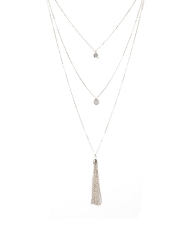 Diamante Stone Disc Tassel 3 Row Necklace