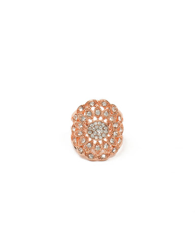 Diamante Round Stone Filigree Ring - Large