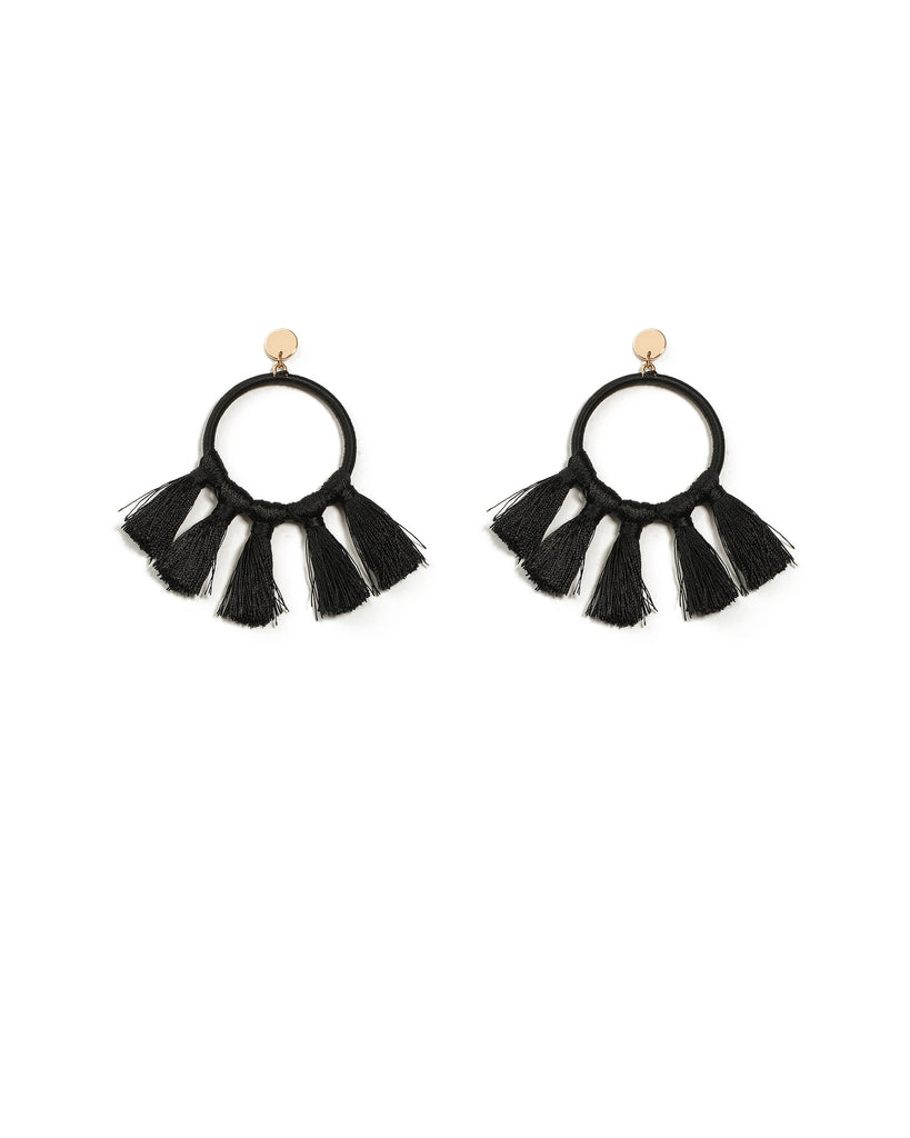 Fabric Wrapped Tassel Circle Earrings