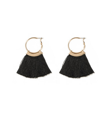 Tassel On 30mm Hoop Earrings