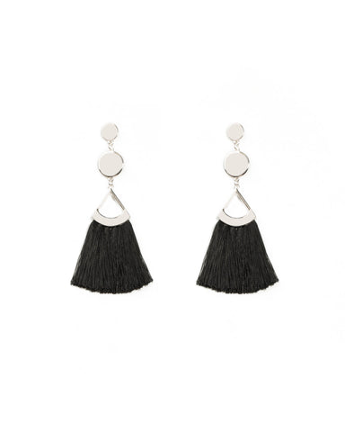 Flat Disc Drop Tassel Earrings