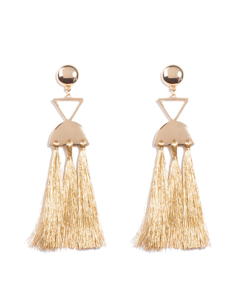 Geometric Shape Tassel Earrings