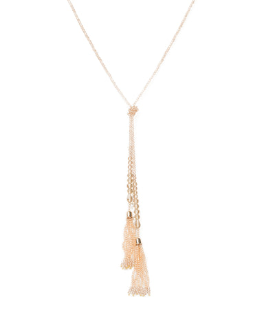 Fine Bead Knot Lariat Necklace