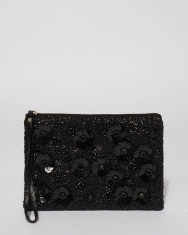 Black Christina Beaded Clutch Bag