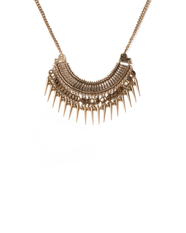 Mixed Stone Spike Statement Necklace