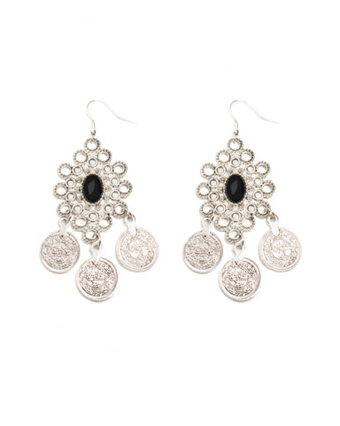 Oval Stone Coin Drop Earrings