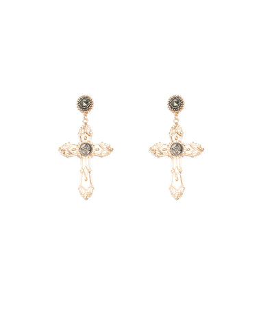 Diamante Stone Cross Statement Earrings