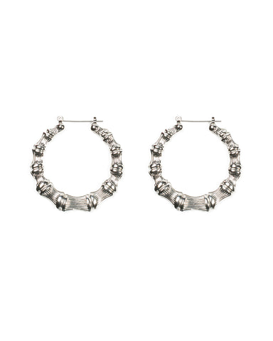 Bamboo Pattern 45mm Hoop Earrings