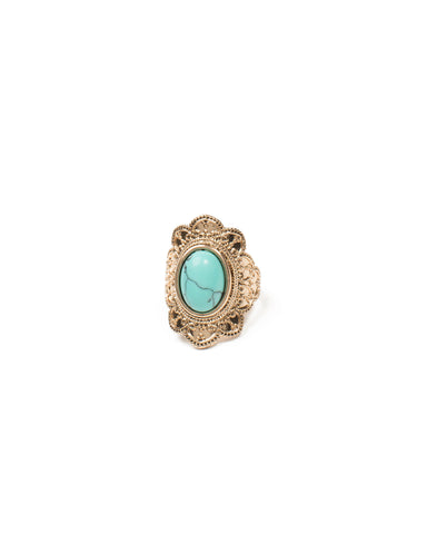 Oval Stone Filigree Ring - Large