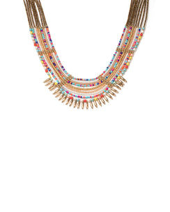 Multi Colour Gold Tone Multi Row Beaded Statement Necklace