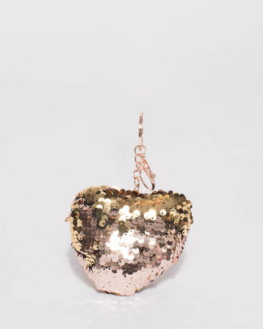 Rose Gold Tone Flipped Sequin Heart Keyring