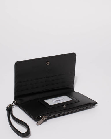 Black Madison Wallet With Gunmetal Hardware