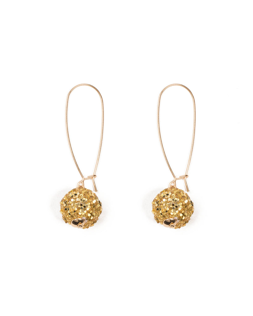 Gold Tone Glitter Ball Drop Earrings